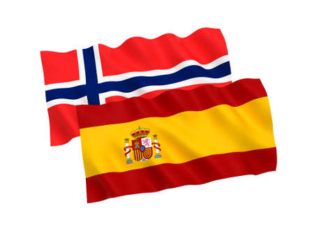 National fabric flags of Norway and Spain isolated on white background. 3d rendering illustration. 1 to 2 proportion.