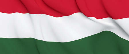 National Fabric Wave Closeup Flag of Hungary Waving in the Wind. 3d rendering illustration.