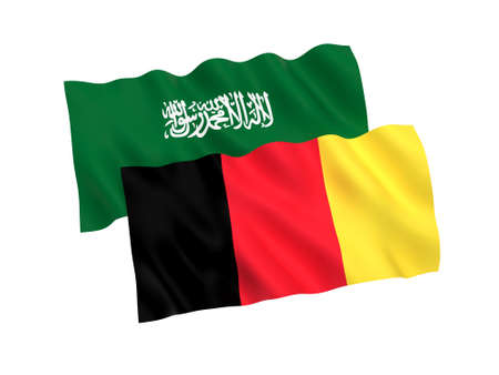 National fabric flags of Belgium and Saudi Arabia isolated on white background. 3d rendering illustration. 1 to 2 proportion.