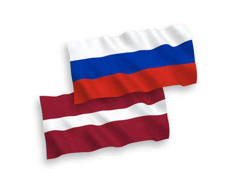 National vector fabric wave flags of Latvia and Russia isolated on white background. 1 to 2 proportion.
