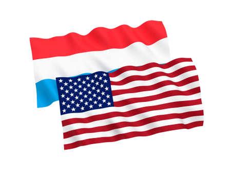 Banderas nacionales de tela de Luxemburgo y América aisladas sobre fondo blanco. Ilustración de renderizado 3D. Proporción 1 a 2.