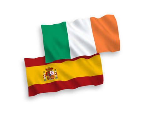 National vector fabric wave flags of Ireland and Spain isolated on white background. 1 to 2 proportion.