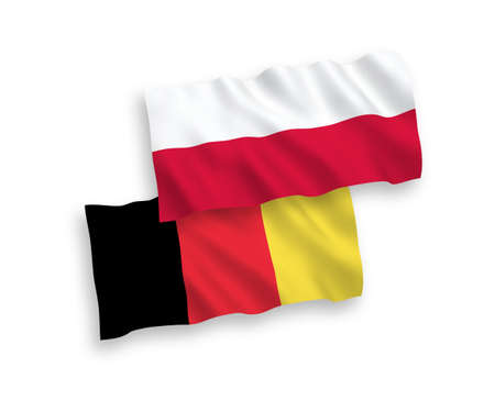 National vector fabric wave flags of Poland and Belgium isolated on white background. 1 to 2 proportion.