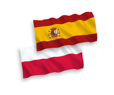 National vector fabric wave flags of Spain and Poland isolated on white background. 1 to 2 proportion. Ilustração