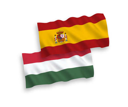 National vector fabric wave flags of Spain and Hungary isolated on white background. 1 to 2 proportion. Ilustração