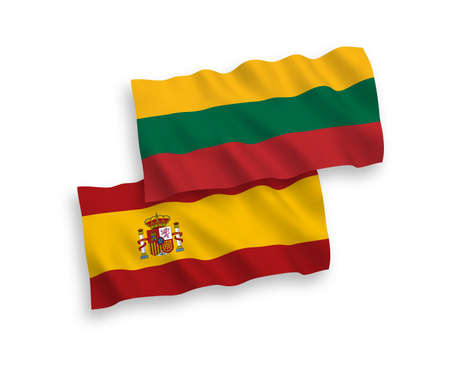 National vector fabric wave flags of Lithuania and Spain isolated on white background. 1 to 2 proportion. Illusztráció
