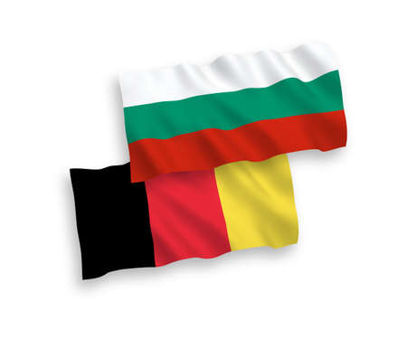 National vector fabric wave flags of Bulgaria and Belgium isolated on white background. 1 to 2 proportion. Ilustração
