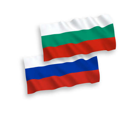 National vector fabric wave flags of Bulgaria and Russia isolated on white background. 1 to 2 proportion. Ilustração