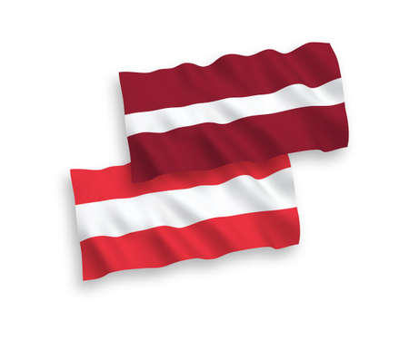 National vector fabric wave flags of Latvia and Austria isolated on white background. 1 to 2 proportion.
