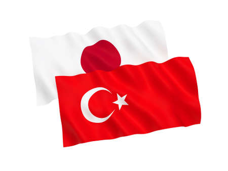 National fabric flags of Turkey and Japan isolated on white background. 3d rendering illustration. 1 to 2 proportion.