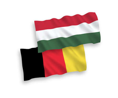 National vector fabric wave flags of Hungary and Belgium isolated on white background. 1 to 2 proportion.