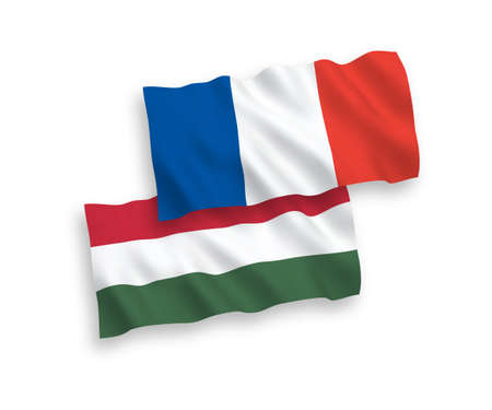National vector fabric wave flags of France and Hungary isolated on white background. 1 to 2 proportion. Imagens