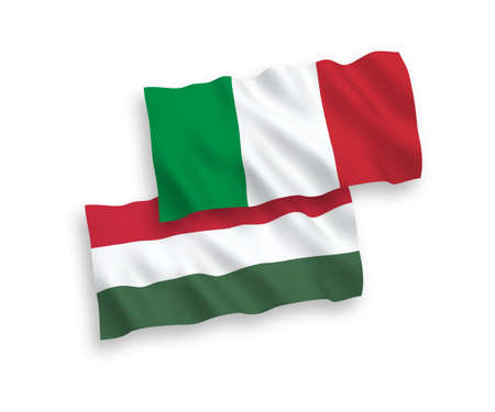 National vector fabric wave flags of Italy and Hungary isolated on white background. 1 to 2 proportion.