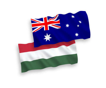 National vector fabric wave flags of Hungary and Australia isolated on white background. 1 to 2 proportion. Imagens