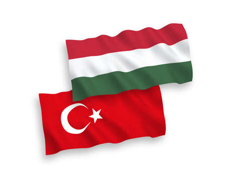 National vector fabric wave flags of Turkey and Hungary isolated on white background. 1 to 2 proportion. Banco de Imagens