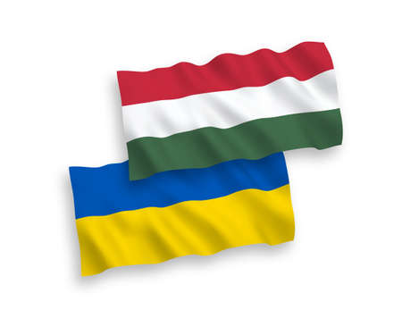 National vector fabric wave flags of Hungary and Ukraine isolated on white background. 1 to 2 proportion.