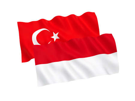 National fabric flags of Turkey and Indonesia isolated on white background. 3d rendering illustration. 1 to 2 proportion.