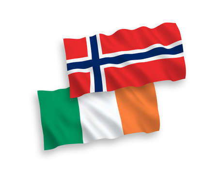 National vector fabric wave flags of Norway and Ireland isolated on white background. 1 to 2 proportion.