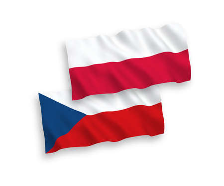 National vector fabric wave flags of Czech Republic and Poland isolated on white background. 1 to 2 proportion. Ilustração