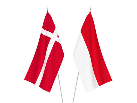 National fabric flags of Indonesia and Denmark isolated on white background. 3d rendering illustration.