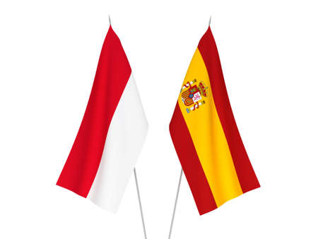 National fabric flags of Spain and Indonesia isolated on white background. 3d rendering illustration.