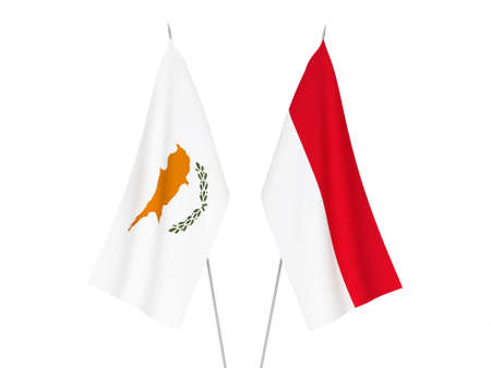 National fabric flags of Indonesia and Cyprus isolated on white background. 3d rendering illustration.
