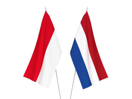 National fabric flags of Netherlands and Indonesia isolated on white background. 3d rendering illustration.