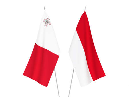 National fabric flags of Indonesia and Malta isolated on white background. 3d rendering illustration. Imagens