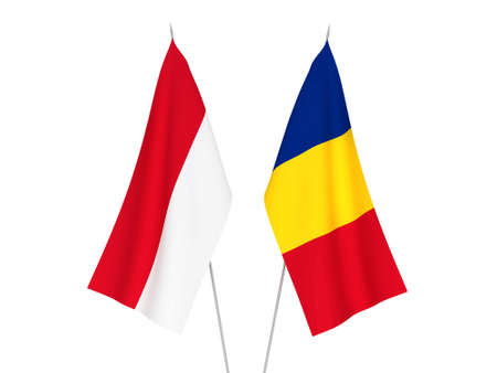National fabric flags of Romania and Indonesia isolated on white background. 3d rendering illustration. Imagens