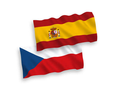 National vector fabric wave flags of Czech Republic and Spain isolated on white background. 1 to 2 proportion.