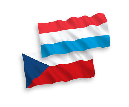 National vector fabric wave flags of Czech Republic and Luxembourg isolated on white background. 1 to 2 proportion.