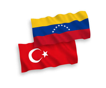 National vector fabric wave flags of Turkey and Venezuela isolated on white background. 1 to 2 proportion. Ilustração