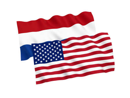 National fabric flags of Netherlands and America isolated on white background. 3d rendering illustration. Proportion 1:2