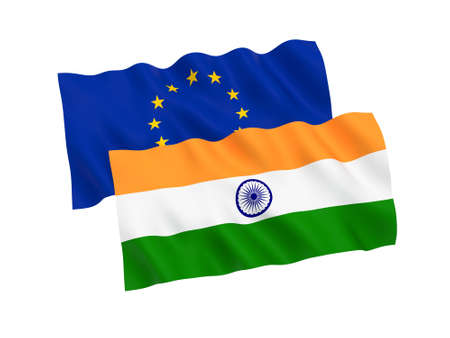 National fabric flags of India and European Union isolated on white background. 3d rendering illustration. 1 to 2 proportion. 스톡 콘텐츠