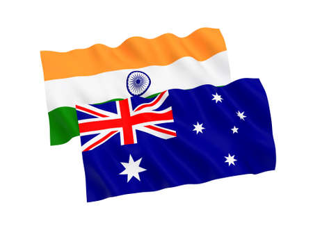 National fabric flags of Australia and India isolated on white background. 3d rendering illustration. 1 to 2 proportion. 스톡 콘텐츠