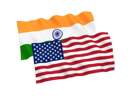 National fabric flags of India and America isolated on white background. 3d rendering illustration. 1 to 2 proportion.