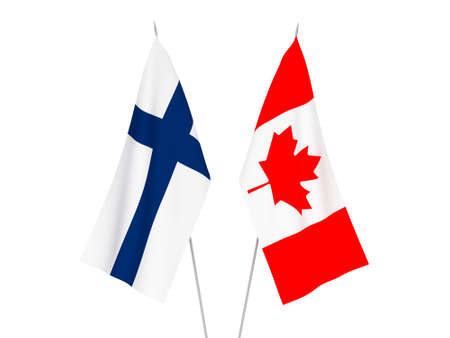 National fabric flags of Canada and Finland isolated on white background. 3d rendering illustration.
