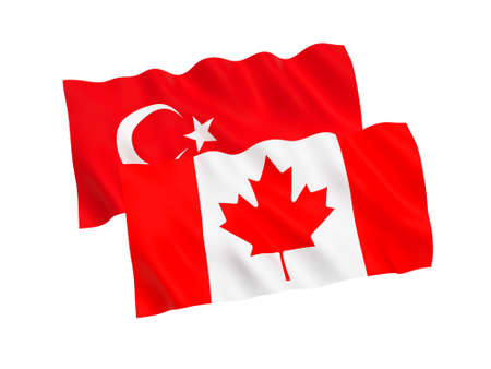 National fabric flags of Turkey and Canada isolated on white background. 3d rendering illustration. 1 to 2 proportion.