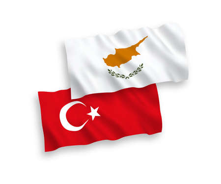 National vector fabric wave flags of Turkey and Cyprus isolated on white background. 1 to 2 proportion. Ilustração
