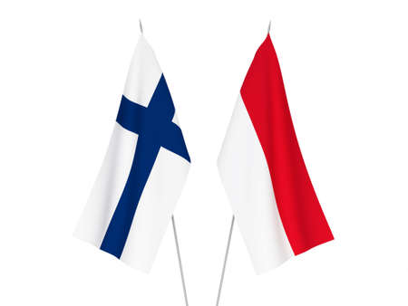 National fabric flags of Indonesia and Finland isolated on white background. 3d rendering illustration.