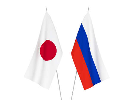 National fabric flags of Russia and Japan isolated on white background. 3d rendering illustration.