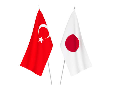 National fabric flags of Japan and Turkey isolated on white background. 3d rendering illustration. Banco de Imagens