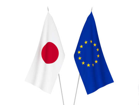 National fabric flags of European Union and Japan isolated on white background. 3d rendering illustration.