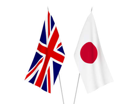 National fabric flags of Great Britain and Japan isolated on white background. 3d rendering illustration. Reklamní fotografie