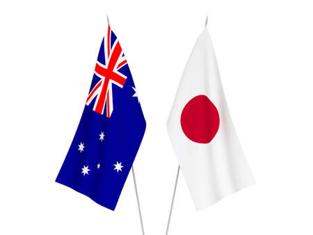 National fabric flags of Australia and Japan isolated on white background. 3d rendering illustration.