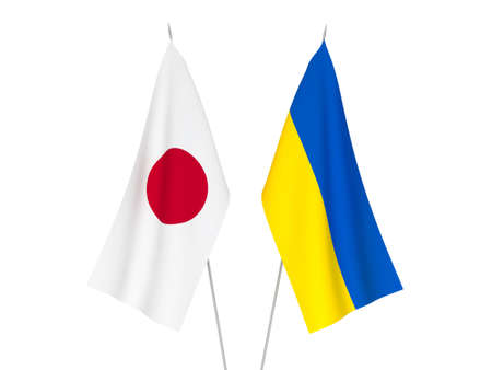 National fabric flags of Ukraine and Japan isolated on white background. 3d rendering illustration.