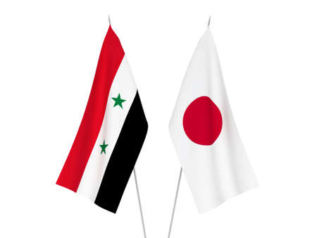 National fabric flags of Japan and Syria isolated on white background. 3d rendering illustration.