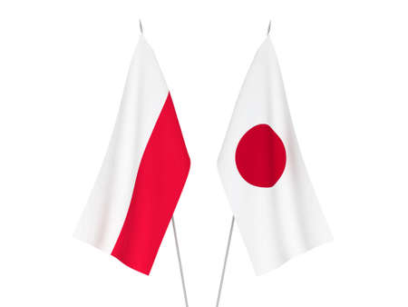 National fabric flags of Japan and Poland isolated on white background. 3d rendering illustration.