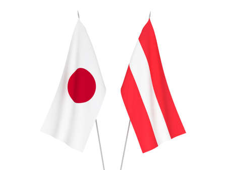 National fabric flags of Austria and Japan isolated on white background. 3d rendering illustration.