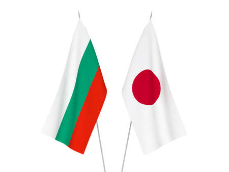National fabric flags of Bulgaria and Japan isolated on white background. 3d rendering illustration. Reklamní fotografie